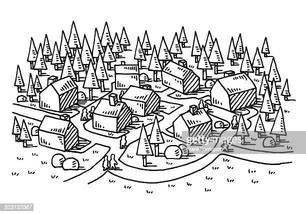 illustrations, cliparts, dessins animés et icônes de village de dessin paysage rural nature - village