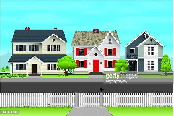 village street scene - house exterior stock illustrations, clip art, cartoons, & icons
