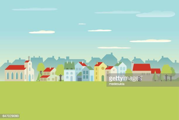 village  - flach stock-grafiken, -clipart, -cartoons und -symbole
