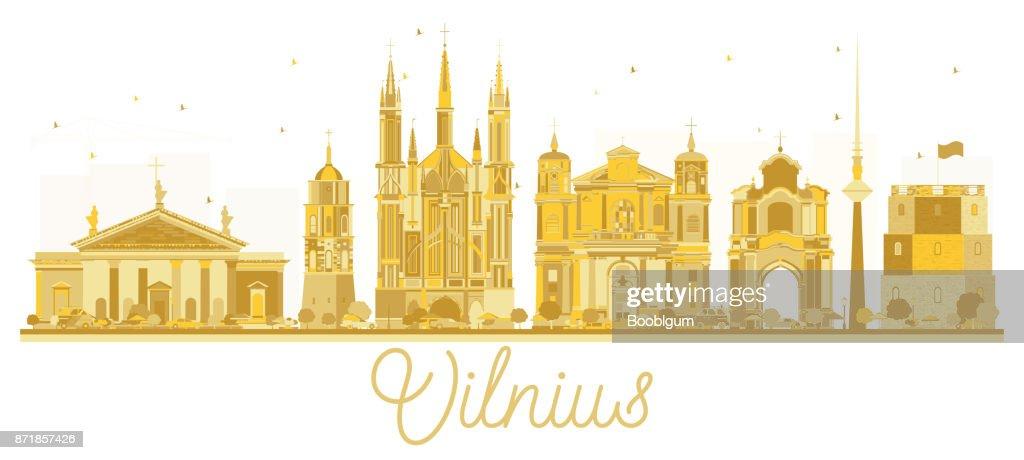 Vilnius Lithuania City skyline golden silhouette.