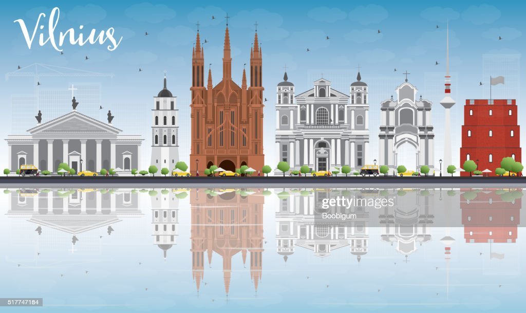 Vilnius Skyline with Gray Landmarks, Blue Sky and Reflections.