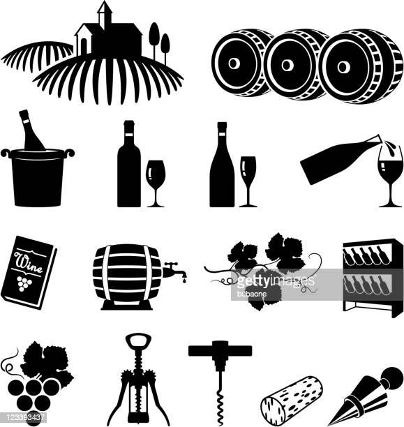 vineyard and wine black & white vector icon set - mulled wine stock illustrations, clip art, cartoons, & icons