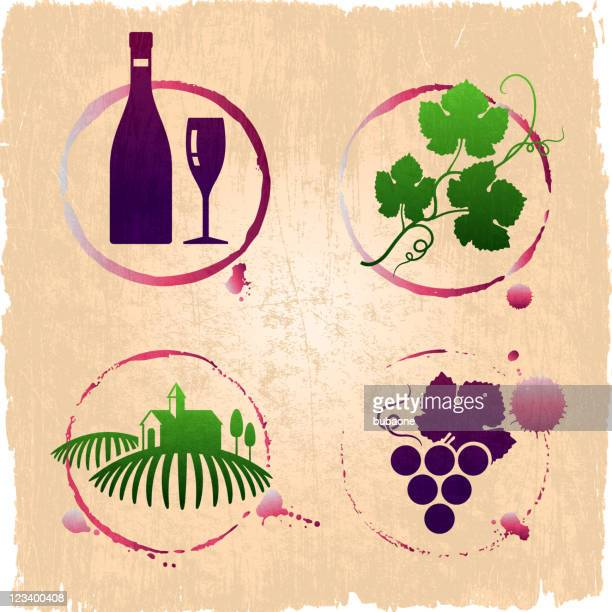 vineyard and wine grunge set - mulled wine stock illustrations, clip art, cartoons, & icons