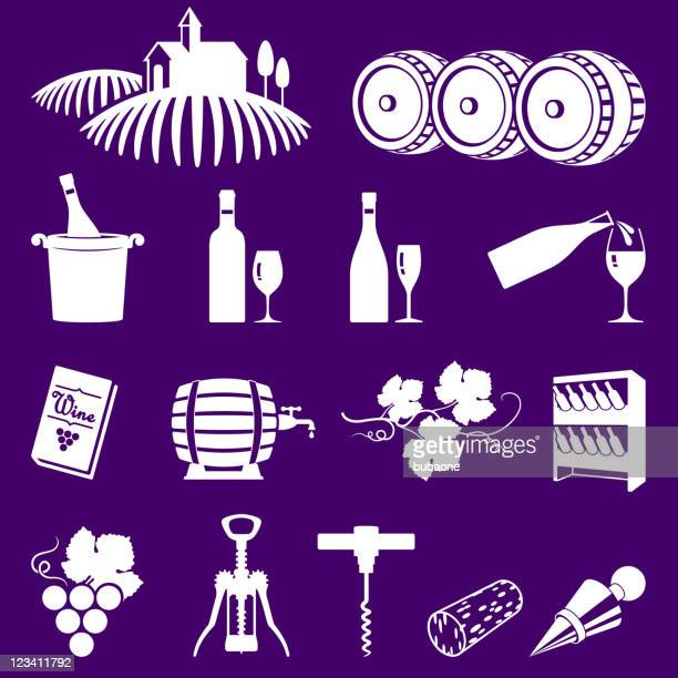 vineyard and wine royalty free vector icon set - mulled wine stock illustrations, clip art, cartoons, & icons