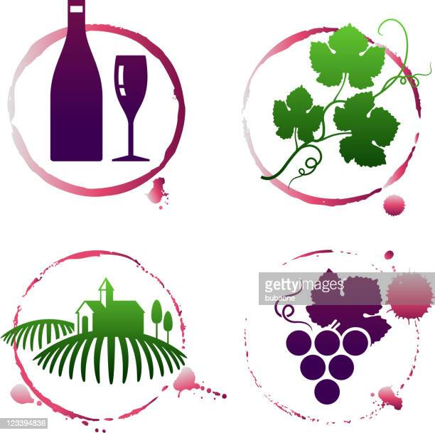 vineyard and wine stain set - mulled wine stock illustrations, clip art, cartoons, & icons