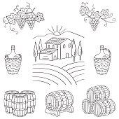 Vineyard farm village landscape vector illustration.