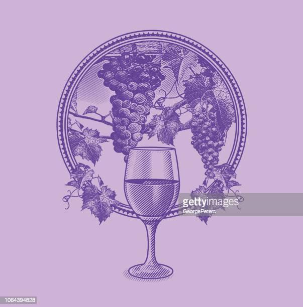 Viñedo uvas y Copa de vino en el marco del círculo