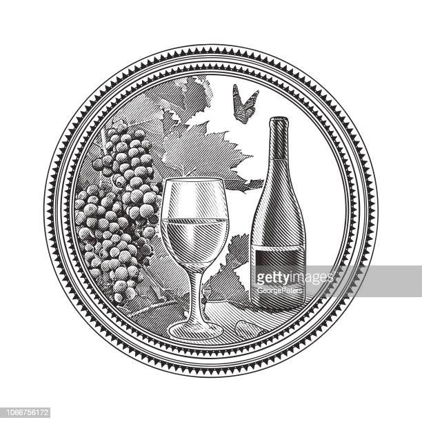 vineyard grapes and glass of wine in circle frame - scratchboard stock illustrations