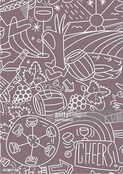 vino. tramado sobre fondo gris - cork stopper stock illustrations, clip art, cartoons, & icons