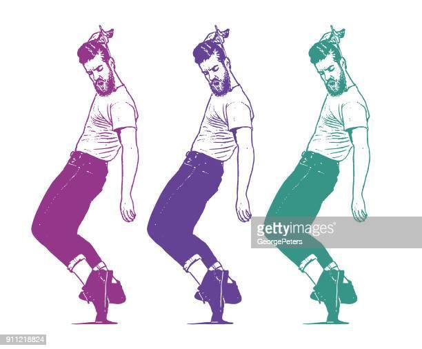 illustrations, cliparts, dessins animés et icônes de les jeunes hipster vintage 1950 homme danse et peigner les cheveux - rock