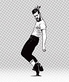 Vintage 1950's young hipster man dancing and combing hair