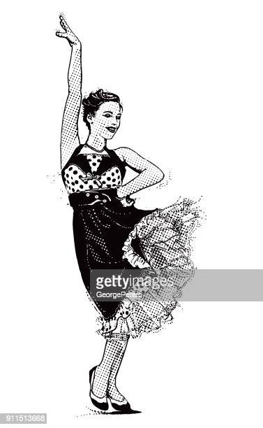 vintage 1950's young woman hipster dancing with passion - swing dancing stock illustrations