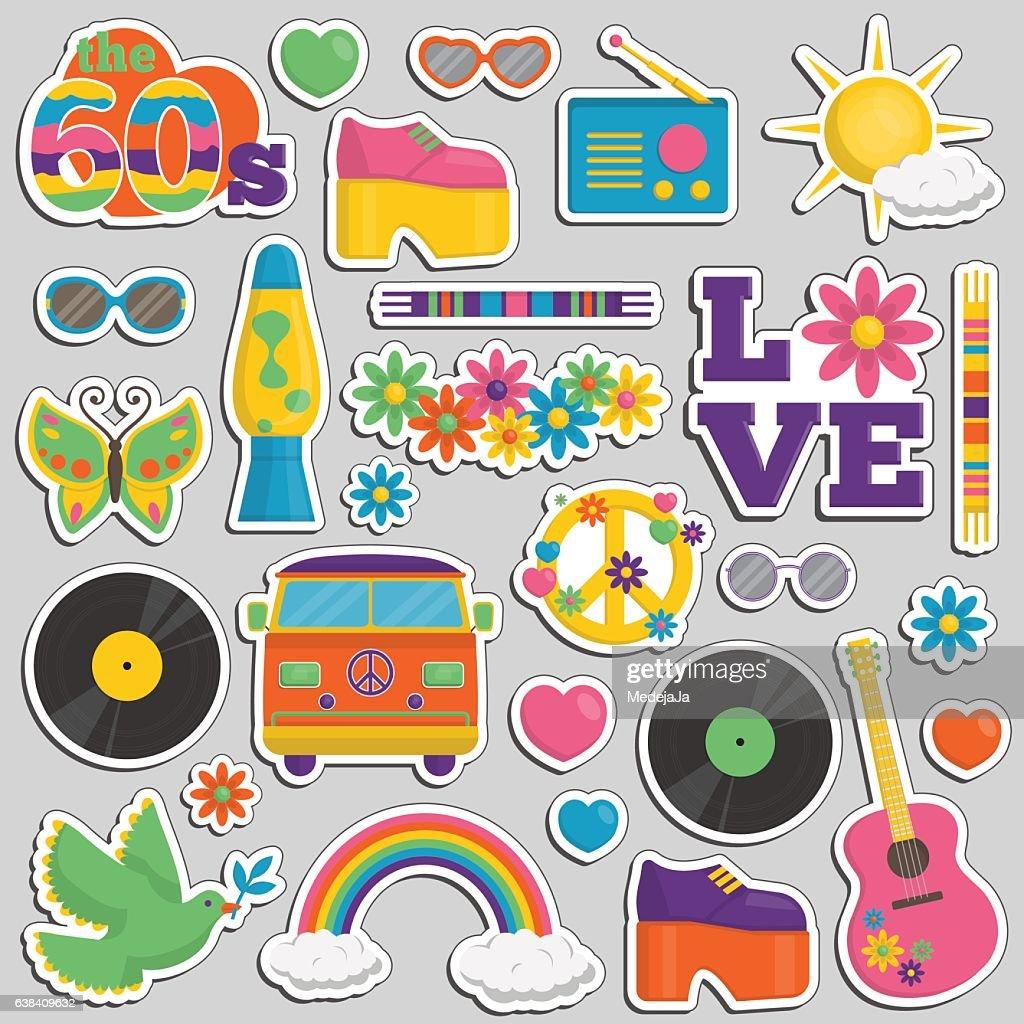 Vintage 1960s hippie style patch sticker set