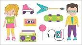 Vintage 1980s style characters and item set