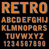 Vintage 3 dimensional typeset, retro font, vector letters and numbers, decorative type, cartoon alphabet