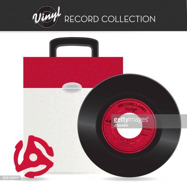 Vintage 45 rpm record holder case with vinyl