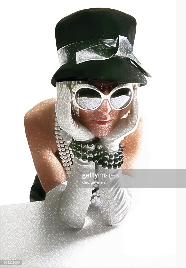Vintage 60's Fashionista Woman with pouting expression : stock illustration