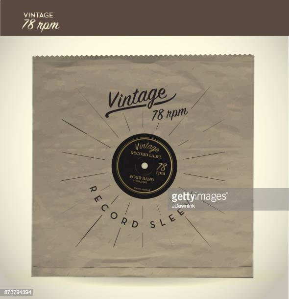 Vintage 78rpm record and paper sleeve design template