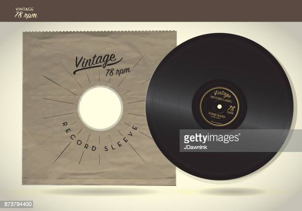 vintage 78rpm record and paper sleeve design template - long sleeved stock illustrations