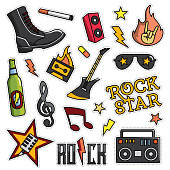 Vintage 80s-90s Rock And Roll Theme Fashion Cartoon Illustration Set