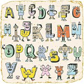 Vintage ABC Alphabet Characters. Wacky Doodle Letters Design Color Set.