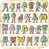 Vintage ABC Funny Alphabet Characters. Wacky Doodle Letters Color Set.