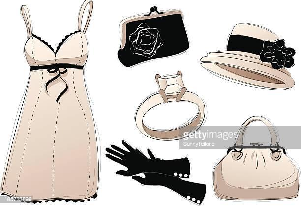 vintage accessories - evening glove stock illustrations