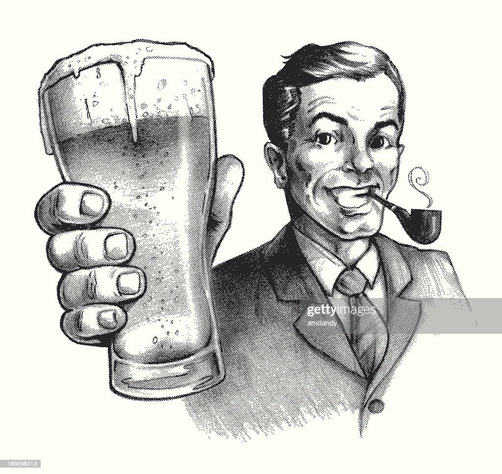 Vintage Ad Beer Buddy : stock illustration