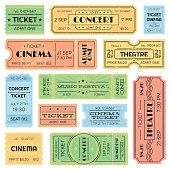 Vintage admitted cinema, music festival pass, train ticket. Isolated amusement admission tickets vector set