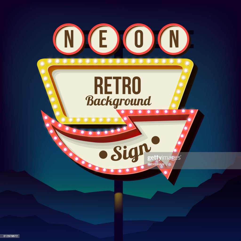 Vintage advertising road billboard with lights. Retro 3d sign