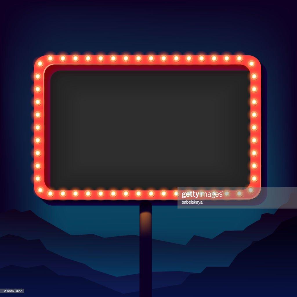 Vintage advertising road billboard with lights. Retro 3d sign