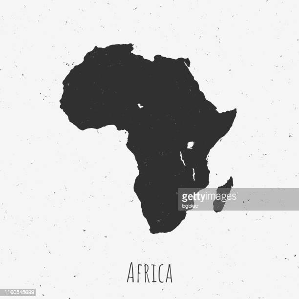 Vintage Africa map with retro style, on dusty white background