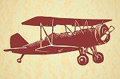 Vintage airplane on textured background