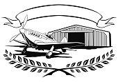 vintage airplane propeller, aeroclub standing on the airfield ne