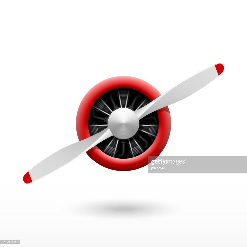Vintage airplane propeller with radial engine