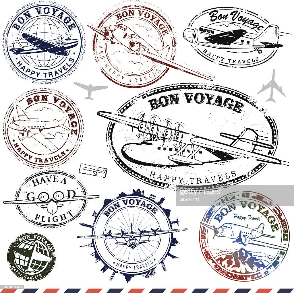 Vintage Airplane Travel Stamps