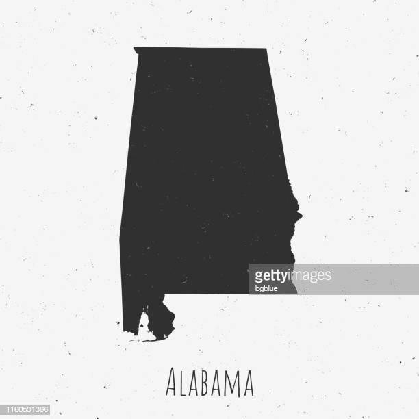 vintage alabama map with retro style, on dusty white background - birmingham alabama stock illustrations, clip art, cartoons, & icons