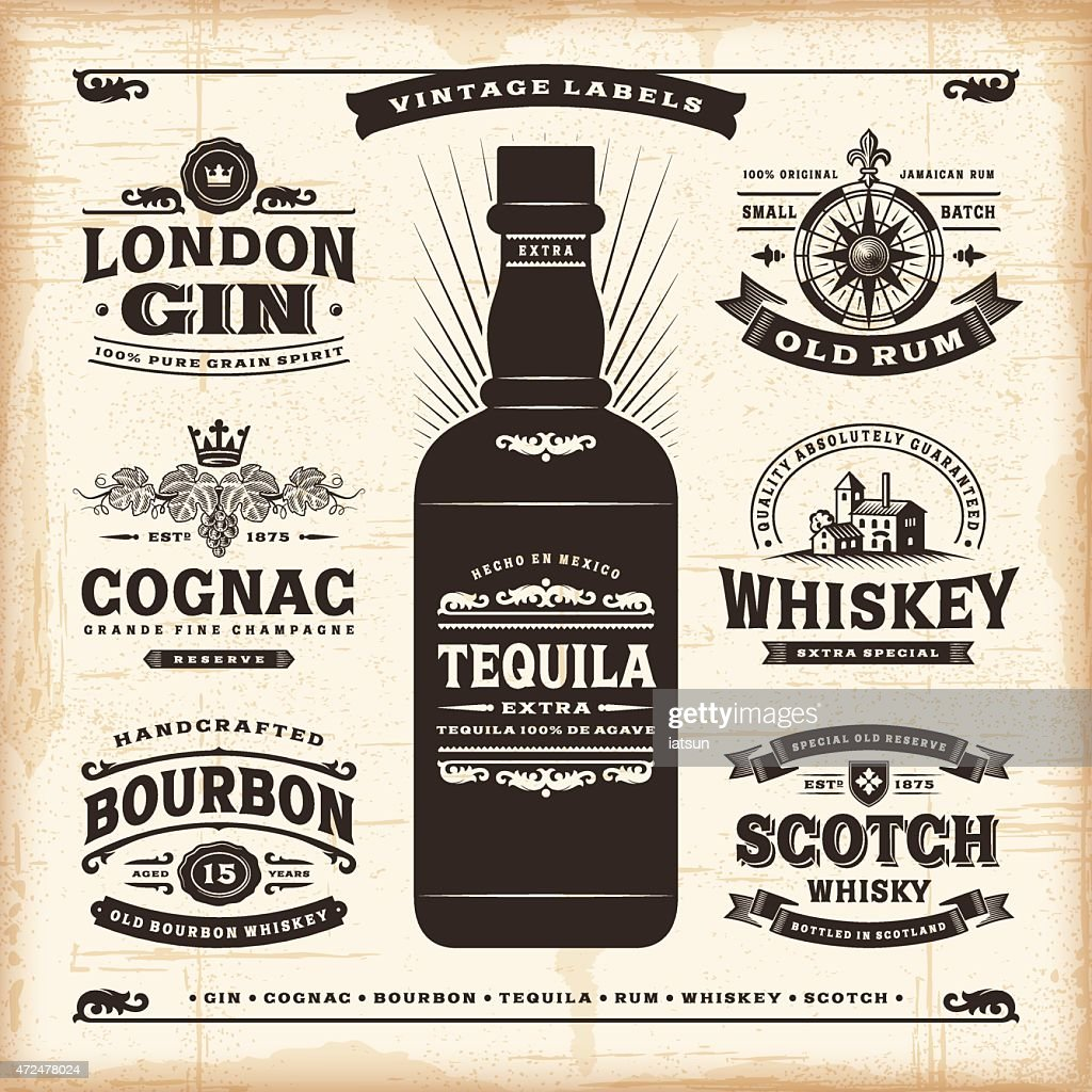 Vintage alcohol labels collection