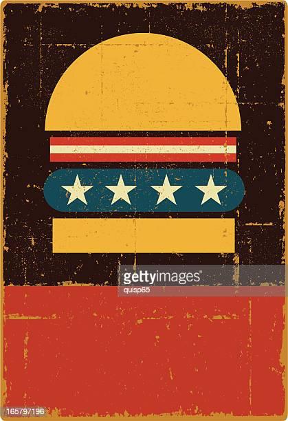 vintage all-american hamburger sign - copy space - hamburger stock illustrations, clip art, cartoons, & icons