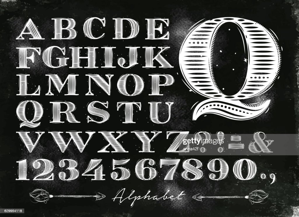 Vintage alphabet chalk