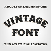 Vintage alphabet font. Messy retro letters and numbers in Wild West style.