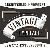 Vintage alphabet font. Rust effect letters and numbers.