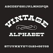 Vintage alphabet. Retro slab serif letters and numbers
