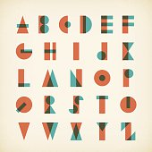 vintage alphabet typography font on textured paper