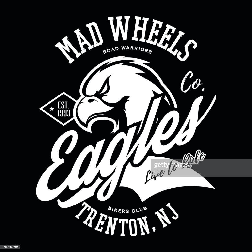 Vintage American furious eagle bikers club tee print vector design.