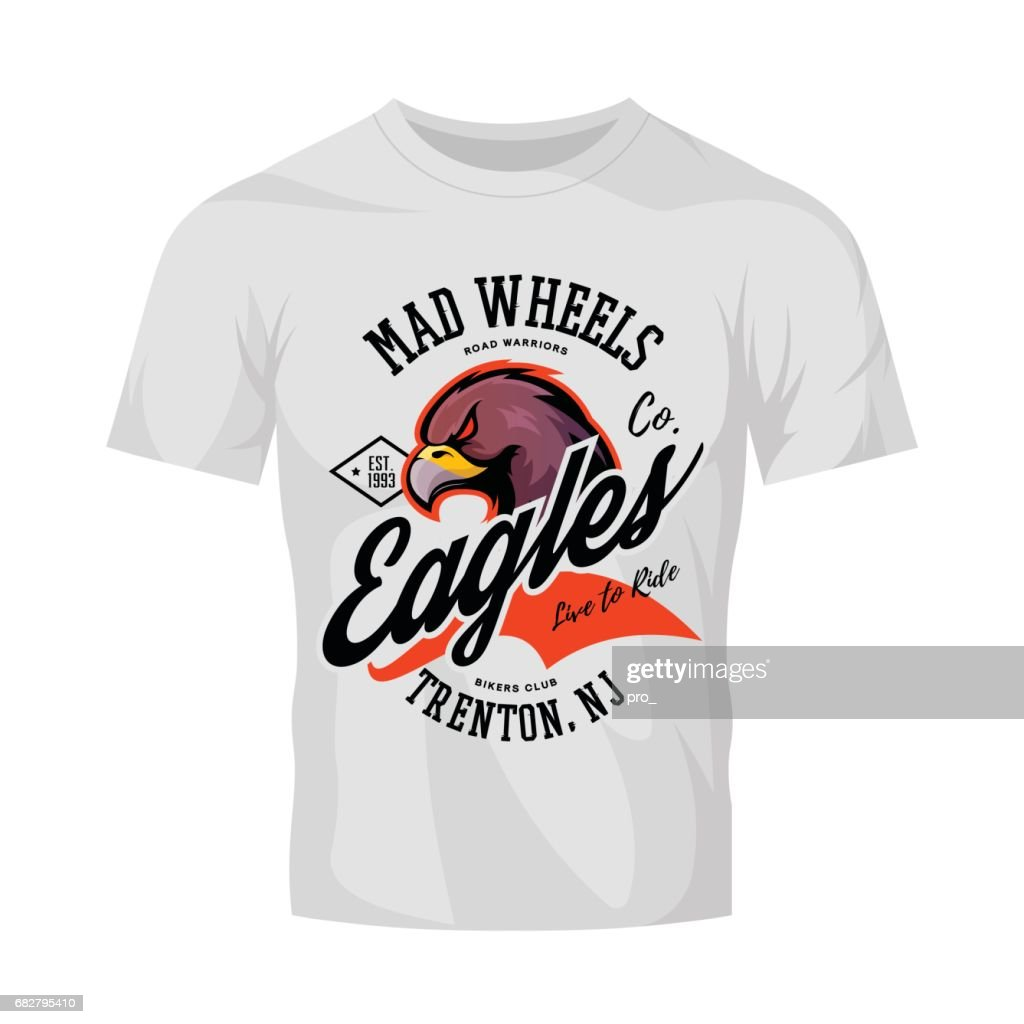 Vintage American furious eagle bikers club tee print vector design isolated on white t-shirt mockup.