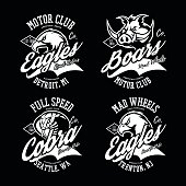 Vintage American furious eagle, boar and cobra bikers club tee print vector design set.