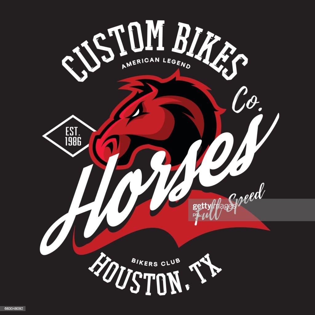 Vintage American furious horse bikers club tee print vector design.