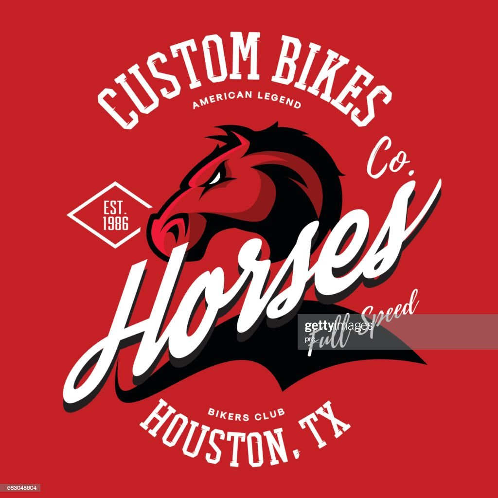 Vintage American furious horse bikers club tee print vector design.