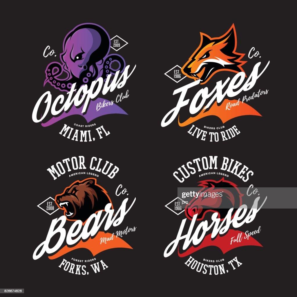 Vintage American furious octopus, fox, bear, horse bikers club tee print vector design set.